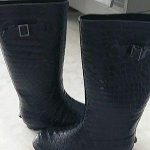 Shoes - Hat n Hollywood Black Faux Ostrich Rainboots